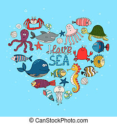 I Love Sea nautical themed design with various fish a whale...
