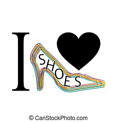 I love shoes graphic with shoe