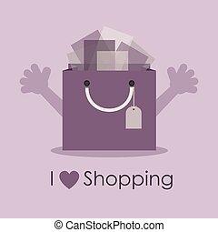 I love shopping - Cute smiley bag