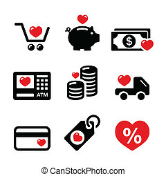I love shopping, I love money icons - Shopping, money black...