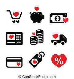 I love shopping, I love money icons