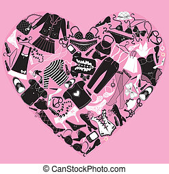 I Love Shopping image, the heart is made of different female fashion accessories and glamor clothes