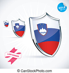 I Love Slovenia Flag Illustration With Sticker