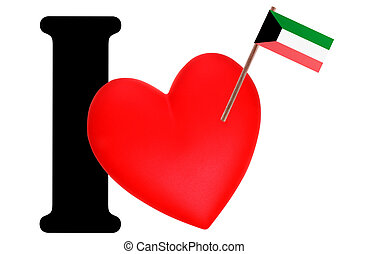 I love - Small flag on a red heart and the word I to express...
