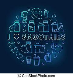 I Love Smoothies blue thin line vector illustration - I Love...