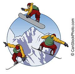 I love snowboarding - Illustration of a snowboarder doing ...