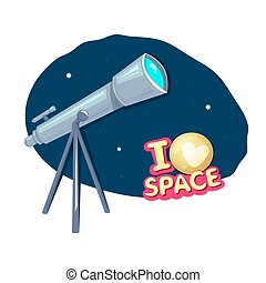 I love space, vector illustration - I love space, concept ...