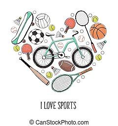 I love sport poster - Collection of vector sport equipment....