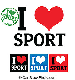 I love Sport sign and labels