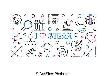 I Love STEAM vector outline horizontal banner or ...