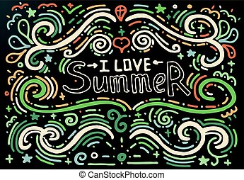 I love summer. Hand drawn vintage print.