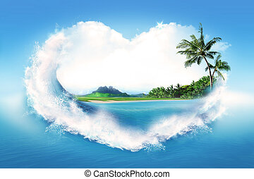 I love summer - Landscape of tropical island framed in a ...