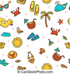 I love summer. Seamless summer pattern with hand drawn beach icons. Vector beach background. Summer print