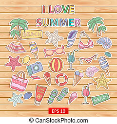 I love summer set.Scrapbook set.Sticker.