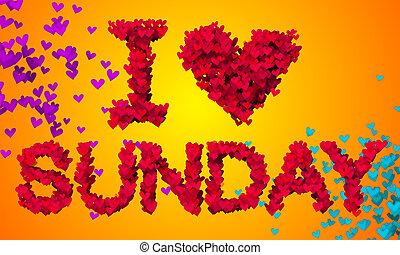 I love Sunday Particles Heart Shape 3D orange background