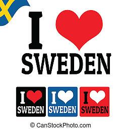 I love Sweden sign and labels
