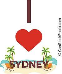 I love Sydney. Australia. Travel. Palm, summer, lounge chair. Vector flat illustration.