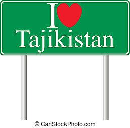 I love Tajikistan, concept road sign