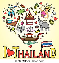 I love Thailand . Set Thai color vector icons and symbols , ...