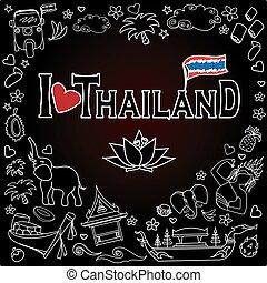 I love Thailand . Set Thai color vector icons and symbols