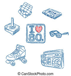 I love the 80s doodles - Sketched illustration of some 80's...