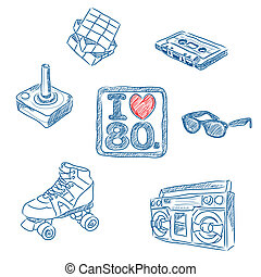 Sketched vector illustration of some 80's symbols