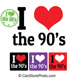 I love the 90's sign and labels on white background, vector illustration