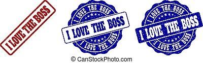 I LOVE THE BOSS Grunge Stamp Seals