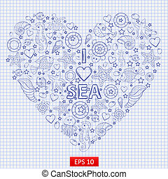 I love the sea, themed illustration with a variety of marine...