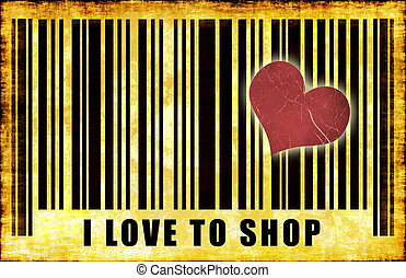 I Love To Shop Barcode Grunge Abstract Poster