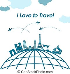 I Love To Travel Earth Plane Background Vector Image