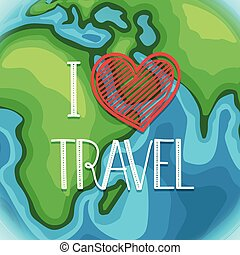 I love travel. Cartoon style vector illustration with lettering logo