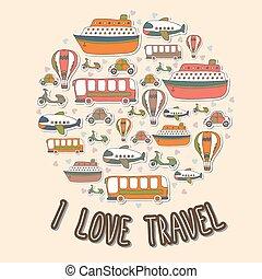 I love travel. Cartoon transport in the circle shape. Vector set
