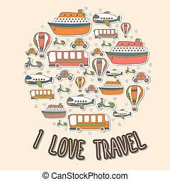 I love travel. Cartoon transport in the circle shape. Vector set