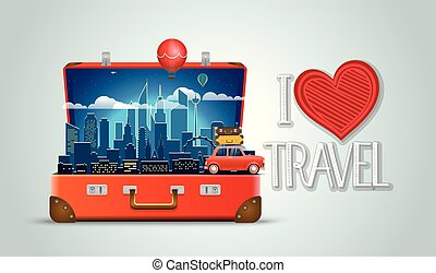 I love travel concept. Modern cityscape night scene