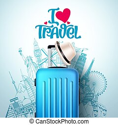 I love travel vector banner design. I love travel text and world famous landmarks