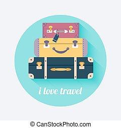 I love travel. Vintage travel luggage background. Flat design style modern vector illustration concept.