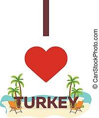 I love Turkey. Travel. Palm, summer, lounge chair. Vector flat illustration.