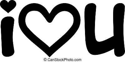 I love u hand written