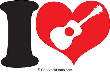 I Love Uke - A big black I and a big red heart with a ...