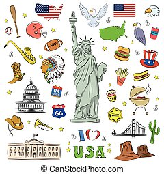 I love USA . Hand drawn doodle elements, objects or icon.