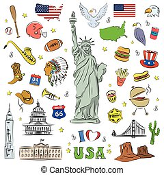 I love USA . Hand drawn doodle elements, objects or icon