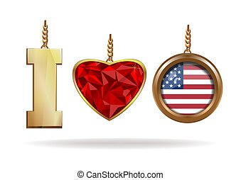 I love USA. Patriotic jewelry. I love America. Red Diamond...