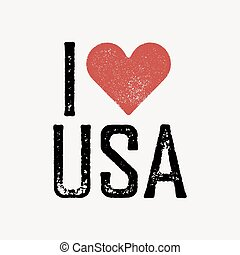 """I love USA"" text with red heart. T-shirt print design template. Vector illustration. Isolated on white background."
