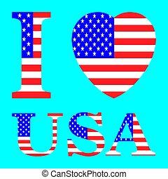 i love usa with heart flag shape Vector illustration eps 10