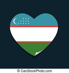 I love Uzbekistan heart vector illustration