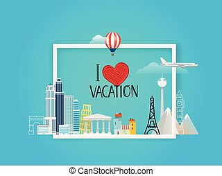 I love vacation. Travel concept. Vector illustration