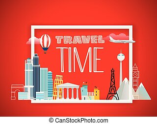 I love vacation. Travel concept. Vector illustration