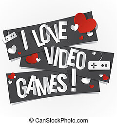 I Love Video Games Banners vector illustration