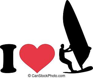I love windsurfing silhouette